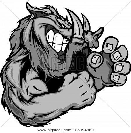 Gráficos Vector de la imagen de un jabalí o cerdo salvaje mascota con manos que luchan