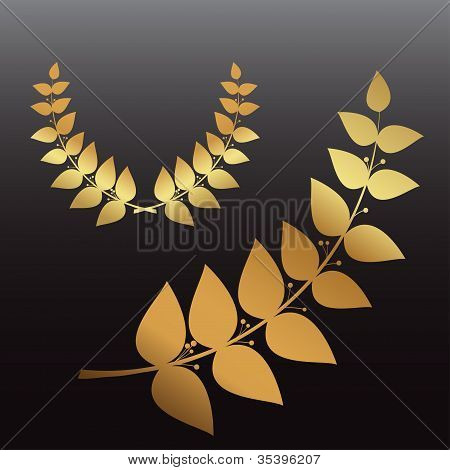 Golden wreath and branch