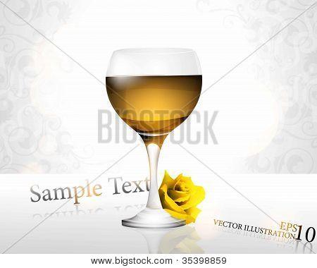 Glass of white wine w/ flower background