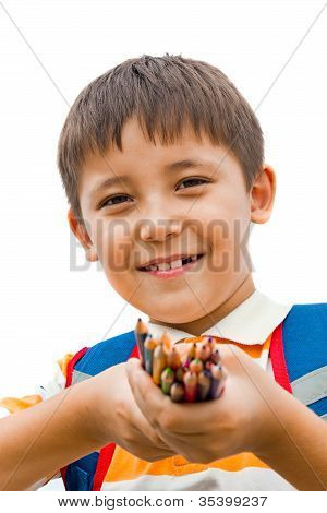 Schoolboy With Colored Pencils In Their Hands