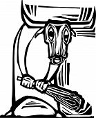 stock photo of minotaur  - Woodcut style image of the mythological Minotaur - JPG