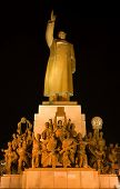 image of zedong  - Mao Statue Heroes Zhongshan Square Shenyang Liaoning Province China at Night Lights Famous Statue built in 1969 in middle of Cultural Revolution - JPG