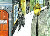 picture of scrooge  - ebenezer scrooge walking past the carol singers - JPG