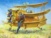 stock photo of propeller plane  - The oil painting  - JPG