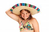 stock photo of halter-top  - Cropped image of a cute vibrant healthy 12 year old girl smiling widely - JPG