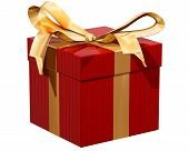stock photo of gift wrapped  - Isolated illustration of a gift wrapped present - JPG