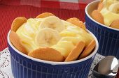stock photo of vanilla  - A dish of banana pudding with vanilla wafers - JPG