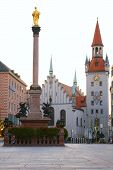 Square Of Medieval City With Monument. Munich. Germany poster