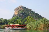 pic of dalyan  - Famous Lycian Tombs of ancient Caunos city Dalyan Turkey - JPG