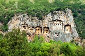 stock photo of dalyan  - Famous Lycian Tombs of ancient Caunos city Dalyan Turkey - JPG