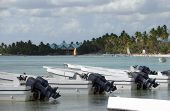foto of greater antilles  - coastal scenery with anchoring motor boats at the Dominican Republic a island of Hispanola wich is a part of the Greater Antilles archipelago in the Carribean region - JPG
