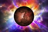 stock photo of aura  - Illustration of Red planet with colorful aura - JPG