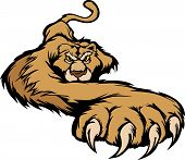 image of cougar  - Graphic Mascot Vector Image of a Prowling Cougar Body - JPG