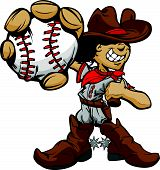 pic of vaquero  - Baseball Cartoon Boy Cowboy Holding Bat Vector Illustration - JPG