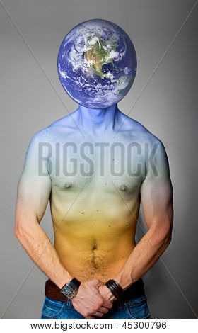 Planet earth with human body.