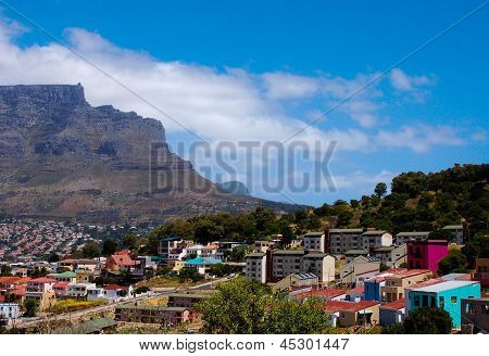 Cape Town's Bo-Kaap District Flanked by the Iconic Table Mountain