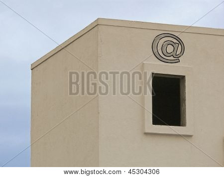 A residential building, Email icon, at symbol Concept