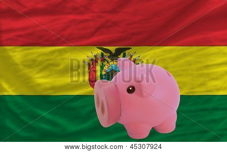 Piggy Rich Bank And  National Flag Of Bolivia