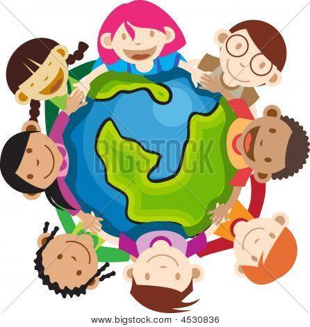 Multi ethnischen Kinder halten globe