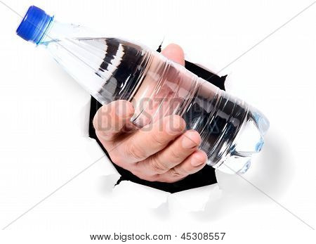 Man Is Holding Bottle Through A Hole