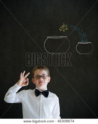 All Ok Boy Dressed As Business Man With Chalk Fish Jump Bowl