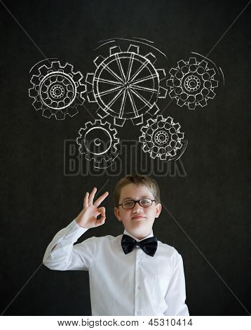 All Ok Boy Dressed As Business Man With Chalk Turning Gear Cogs Or Gears