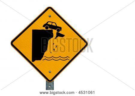 Car Over Cliff Danger Sign