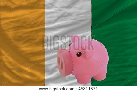 Piggy Rich Bank And  National Flag Of Cote Ivore