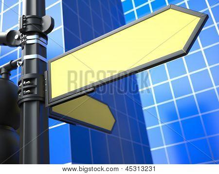 Blank Arrow Raodsign on Blue Background.