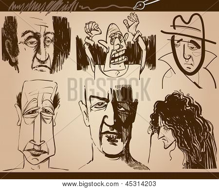 People Faces Cartoon Sketch Drawings Set