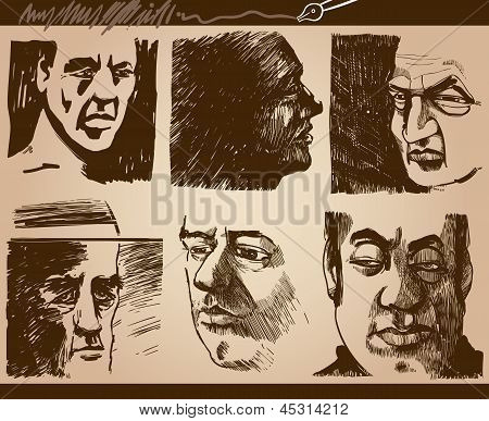People Faces Artistic Drawings Set