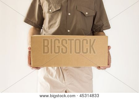 postman standing has a packet for you standing in
