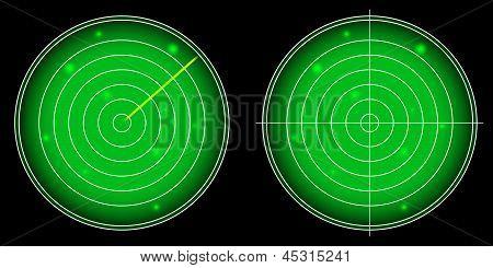 Glühende Radarschirm mit leuchtenden Ziele Vektor