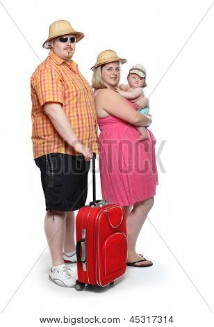 Funny obese family going to holidays.