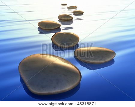 An image of beautiful step stones in the blue ocean sunset