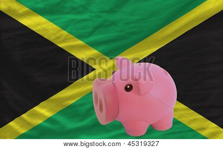 Piggy Rich Bank And  National Flag Of Jamaica
