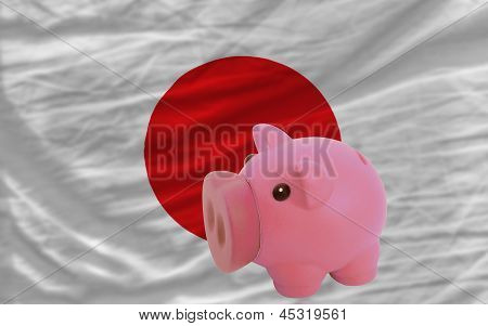 Piggy Rich Bank And  National Flag Of Japan