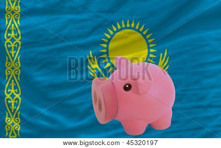 Piggy Rich Bank And  National Flag Of Kazakhstan