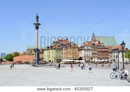 WARSAW, POLAND - MAY 8: View of Sigmund's Column and Castle Square on May 8, 2013 in Warsaw, Poland. Warsaw is the most visited by tourists city in Europe.