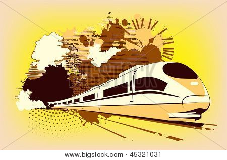 High Speed Train In Yellow Color