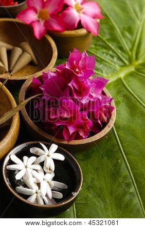 spa supplies with orchid . frangipani, image of tropical spa.