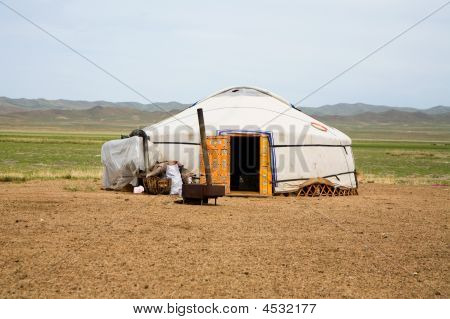 Ger On The Steppes Of Mongolia Central Asia