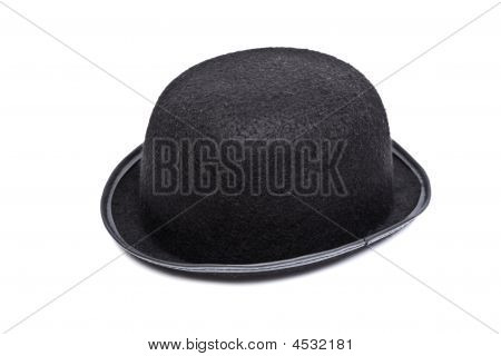 Black Bowler Hat Isolated On A White Background