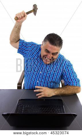 Desperate Man Destroys The Laptop