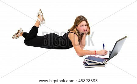 Girl Doing Homework With Laptop