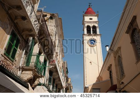 Bell Tower In One Of The Small Corfu Streets