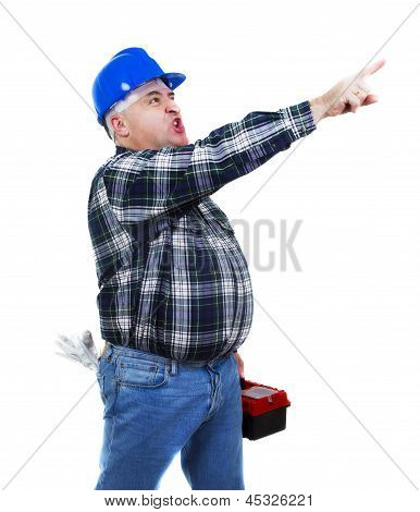 Angry Worker Pointing At Something