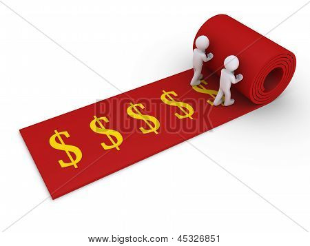 Two People Unroll Carpet Of Dollar Symbols