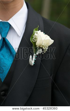 White Rose boutonniere and Cerulean Blue Necktie:
