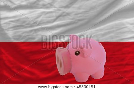 Piggy Rich Bank And  National Flag Of Poland